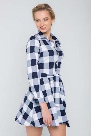 Zefir: Платье в клетку с юбкой клеш TRISH белое - главное фото