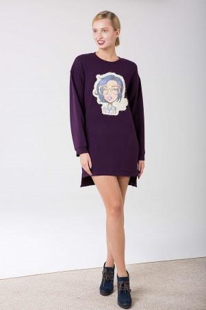 Zefir: Платье с аппликацией HAPPY темно-лиловое - главное фото