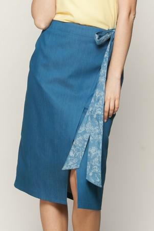 Marterina: Юбка-карандаш с запахом на завязке из синего джинса K01U03J04 - главное фото