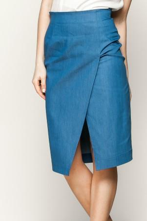 Marterina: Юбка-карандаш с запахом из синего джинса K01U02J04 - главное фото