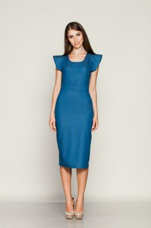 Marterina: Платье-футляр с притачным поясом из синего джинса K01P26J04 - главное фото