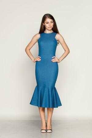 Marterina: Платье-футляр с воланом внизу из синего джинса K01P25J04 - главное фото