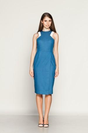 Marterina: Платье-футляр без рукава с запахом из синего джинса K01P22J04 - главное фото