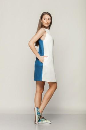 Marterina: Платье-трапеция белый коттон/синий джинс K01P21CTJ03 - главное фото