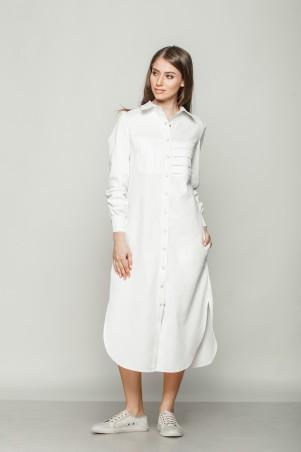 Marterina: Платье-рубашка удлиненное с рукавом из белого коттона K01P19CT01 - главное фото