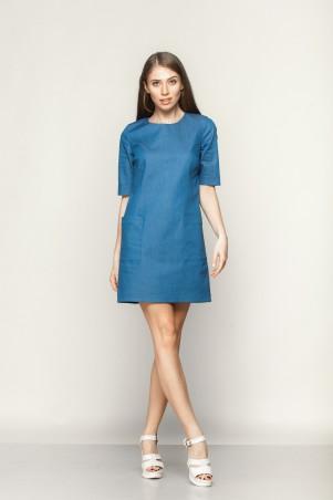 Marterina: Платье-мини с накладными карманами из синего джинса K01P13J04 - главное фото
