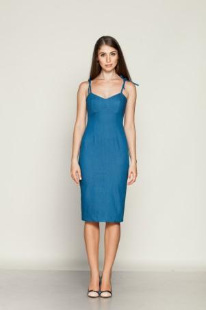 Marterina: Платье с отрезным лифом на бретелях из синего джинса K01P10J04 - главное фото