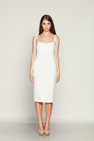Marterina. Платье с отрезным лифом на бретелях из белого коттона. Артикул: K01P10CT01