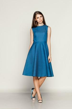 Marterina: Платье с отрезной юбкой полусолнце из синего джинса K01P08J04 - главное фото