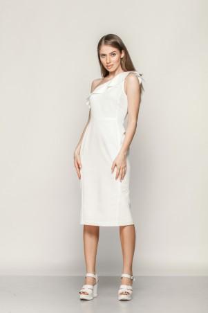 Marterina: Платье на одно плечо с воланом из белого коттона K01P01CT01 - главное фото