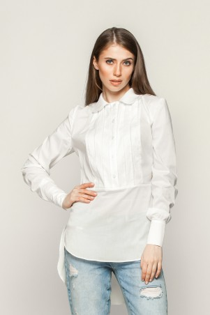 Marterina: Рубашка с длинным рукавом в складку белая K01R03R01 - главное фото