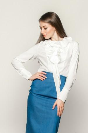 Marterina: Рубашка с декоративным жабо белая K01R02R01 - главное фото