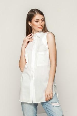 Marterina. Рубашка без рукава с фигурной линией низа белая. Артикул: K01R01R01