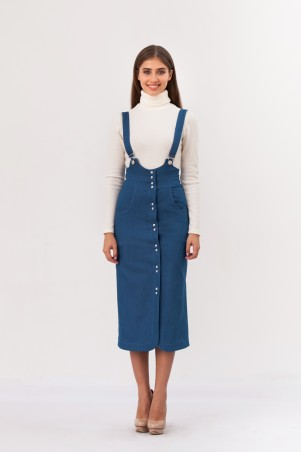 Marterina: Сарафан-футляр на кнопках из синего джинса K02S05J04 - главное фото