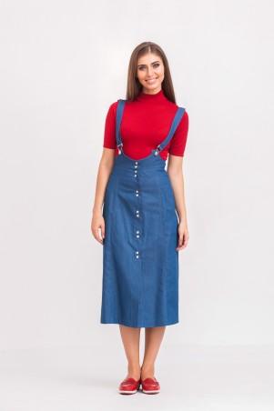 Marterina: Сарафан-трапеция на кнопках из синего джинса K02S04J04 - главное фото