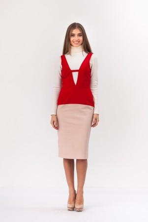 Marterina: Платье-футляр с V-образным вырезом красный/пудра K02P37KM15 - главное фото