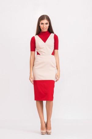 Marterina: Платье-футляр с полу-открытой спиной красный/пудра K02P36KM15 - главное фото