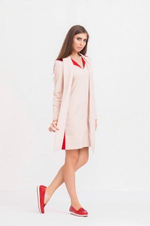 Marterina: Платье-рубашка с рукавом и воротником-шарфом цвета пудра с красной спиной K02P35KM15 - главное фото