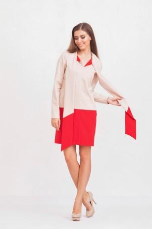 Marterina: Платье-рубашка с рукавом и воротником-шарфом красный/пудра K02P34KM15 - главное фото