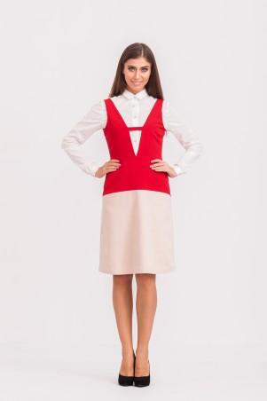 Marterina: Платье с V-образным вырезом красный/пудра K02P33KM15 - главное фото