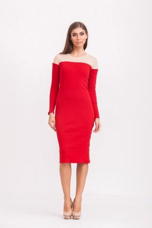 Marterina: Платье с отрезным верхом и рукавом красный/пудра K02P31TR15 - главное фото