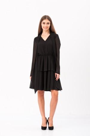 Marterina: Платье двухслойное с рукавом и воротником-шарфом из черного шифона K02P27SF19 - главное фото