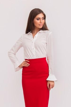 Marterina: Рубашка с конусными манжетами белая с принтом K02R05CT23 - главное фото