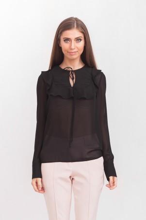 Marterina: Блуза с рукавом и воланом на кокетке из чёрного шифона K02BL04SF19 - главное фото