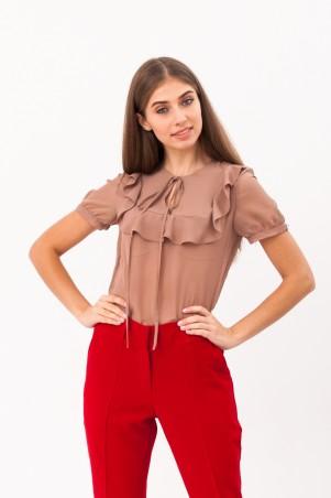 Marterina: Блуза с коротким рукавом из бежевого шифона K02BL02SF09 - главное фото