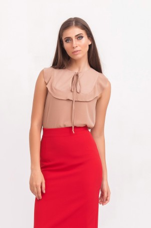 Marterina: Блуза с воланом на кокетке из бежевого шифона K02BL01SF09 - главное фото