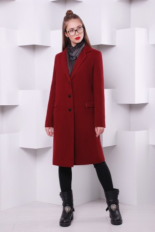 """TessDress: Пальто """"Классик-2"""" утепленное марсала 3051 - главное фото"""