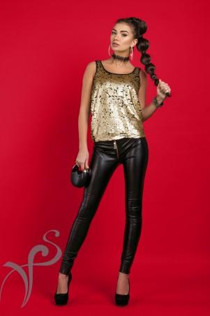 Vision FS: Кожаный узкие брюки Бэкки 16406 A - главное фото