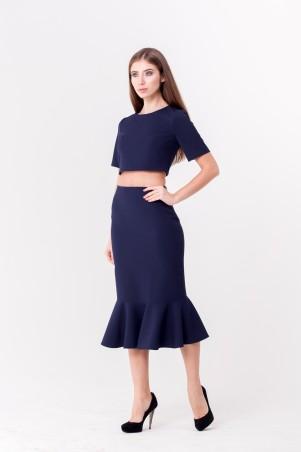 """Marterina. Костюм """"Топ с открытой спиной и юбка с воланом"""" темно-синий. Артикул: K04K03KM18"""