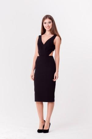 Marterina. Платье-футляр с полуоткрытой спиной черное. Артикул: K04P36KM19