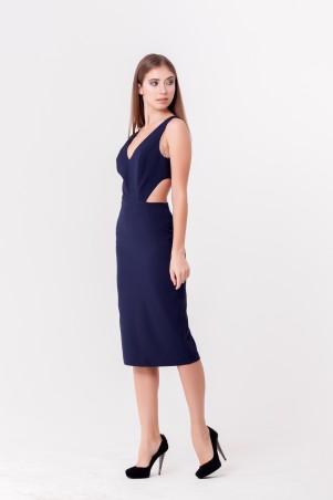 Marterina. Платье-футляр с полуоткрытой спиной темно-синее. Артикул: K04P36KM18