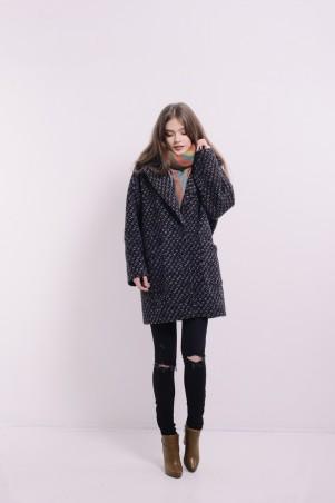 Lilo. Черное твидовое пальто со спущенным рукавом. Артикул: 2094