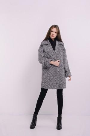 Lilo. Черно-белое пальто с большим воротником и карманами. Артикул: 8088
