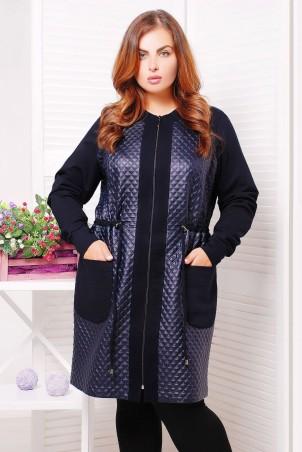 Tatiana: Легкое трикотажное пальто МОНРО темно-синее - главное фото