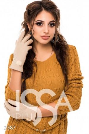 ISSA PLUS. Бежевые плотные перчатки на зиму со стразами и меховым украшением. Артикул: 2587_бежевый