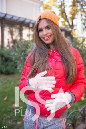 ISSA PLUS. Бежевые перчатки с цветочной аппликацией. Артикул: 1239_бежевый
