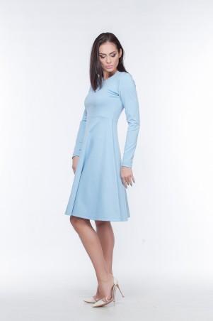 Marterina. Платье с рукавом и юбкой-трапецией голубое. Артикул: K05P07TR05