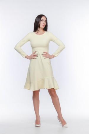 Marterina. Платье с рукавом и воланом по низу желтое. Артикул: K05P29KM13