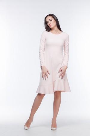 Marterina. Платье с рукавом и воланом по низу цвета пудра. Артикул: K05P29KM14