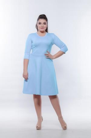Marterina. Платье с рукавом 3/4 и юбкой-трапецией голубое. Артикул: K05P57TR05