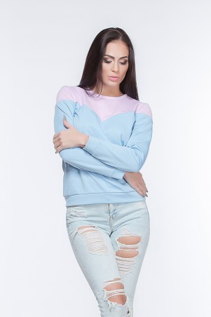 Marterina. Свитшот двухцветный розово-голубой. Артикул: K05G05TR39