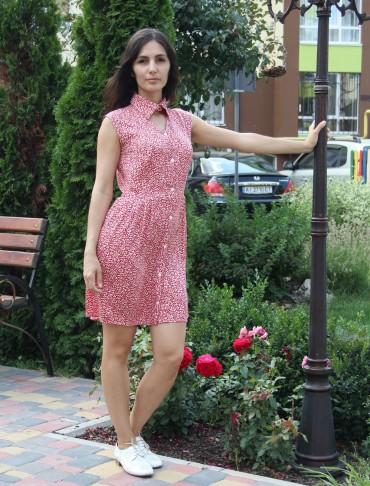 Tali Ttes. Платье на пуговицах с воротником красное с белыми листочками. Артикул: 2016016