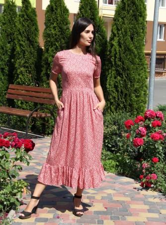 Tali Ttes. Платье миди с оборкой на юбке красное с белыми листочками. Артикул: 2016015