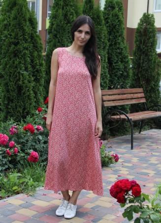 Tali Ttes. Платье-майка с открытой спиной красное с белыми листочками. Артикул: 2016013