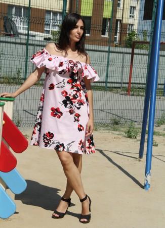 Tali Ttes. Платье-трапеция с резинкой и баской на плечах розовое с принтом. Артикул: 2016012