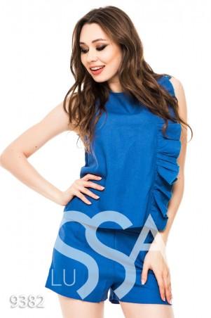 ISSA PLUS. Синий костюм без рукавов с шортами и рюшем сбоку. Артикул: 9382_синий